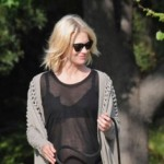PHOTO: Hot Or Not? January Jones Shows Off Baby Bump & Bra Under Sheer Shirt