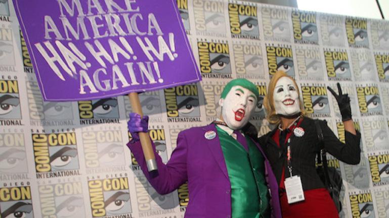 Donald Trump Joker and Hillary Quinn at Comic-Con 2016 SOURCE: Getty