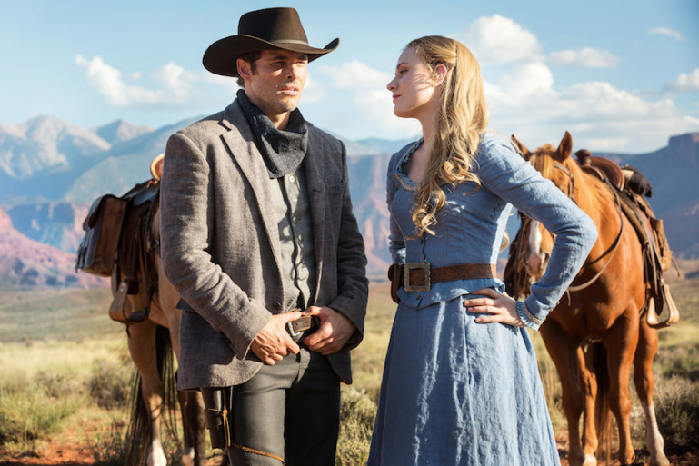 "James Marsden and Evan Rachel Wood in ""Westworld"" SOURCE: HBO"