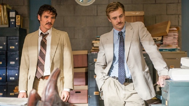 Pedro Pascal and Boyd Holbrook in Narcos on Netflix