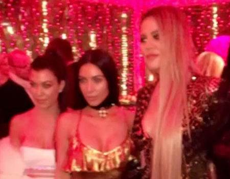 Kim Kardashian Sports Lip Ring During Family Christmas Party While Kylie Jenner