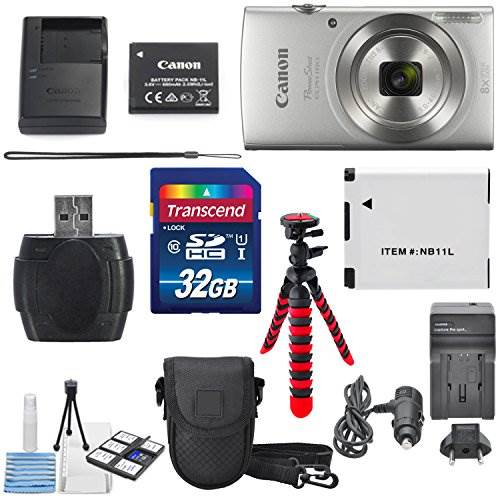 Canon PowerShot ELPH 180 Digital Camera (Silver) + 32GB SDHC M…