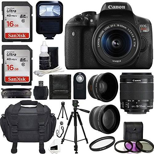 Canon EOS Rebel T6i DSLR CMOS Digital SLR Camera with EF-S 18-…