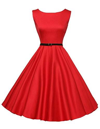 Shelchell Comfortable Hepburn Style Vintage Swing Dresses Crew…