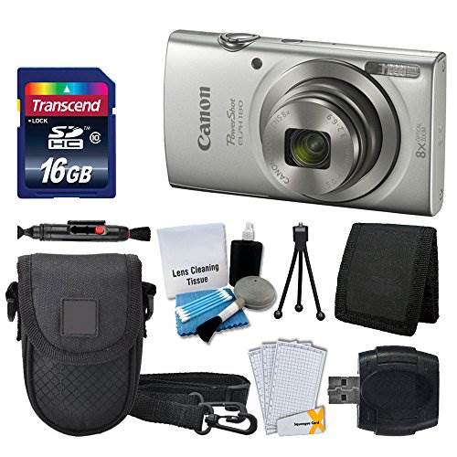 Canon PowerShot ELPH 180 Digital Camera (Silver) + Transcend 1…