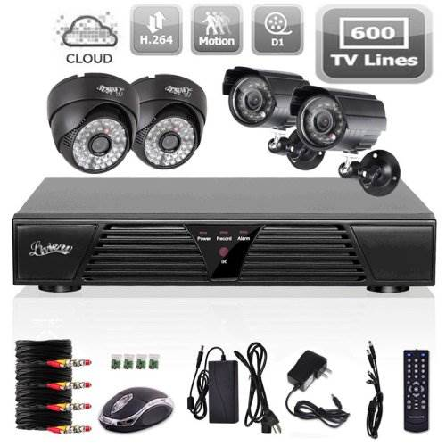 Liview 4CH CCTV Full D1 DVR Motion Detection 600TVL Outdoor In…