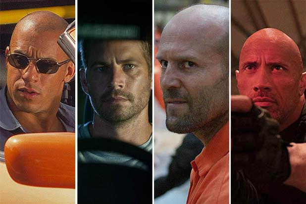 "Vin Diesel, Paul Walker, Jason Statham and Dwayne Johnson in the ""Fast & Furious"" franchise"