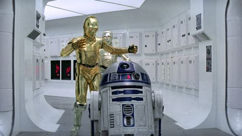 r2 d2 and c 3po in star wars a new hope
