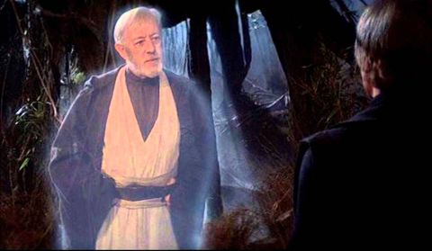 alec guinness as obi wan kenobi's force ghost in star wars the empire strikes back