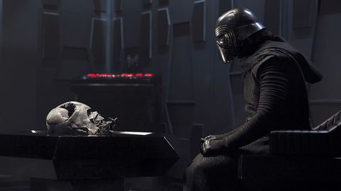 kylo ren and darth vader's helmet star wars the force awakens