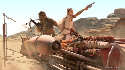 chewbacca and rey fight  enemies together in star wars the rise of skywalker