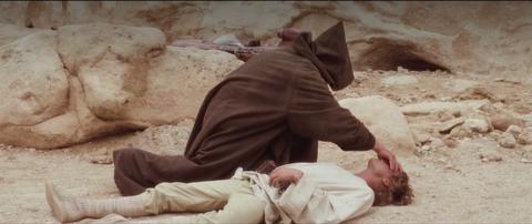 obi wan kenobi force heals luke skywalker in star wars a new hope