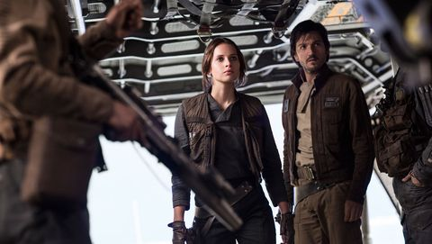 star wars, rogue one, felicity jones as jyn erso, diego luna as cassian andor