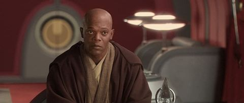 star wars attack of the clones   samuel l jackson as mace windu, seated