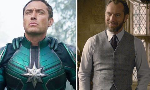 jude law   yon rogg in captain marvel  dumbledore in fantastic beasts the crimes of grindelwald