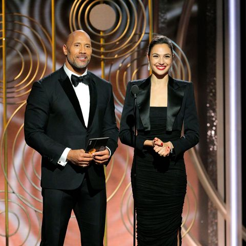 dwayne johnson, gal gadot at the golden globes, january 2018