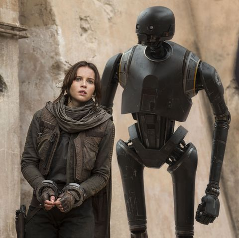 star wars, rogue one, felicity jones as jyn erso, and k 2so