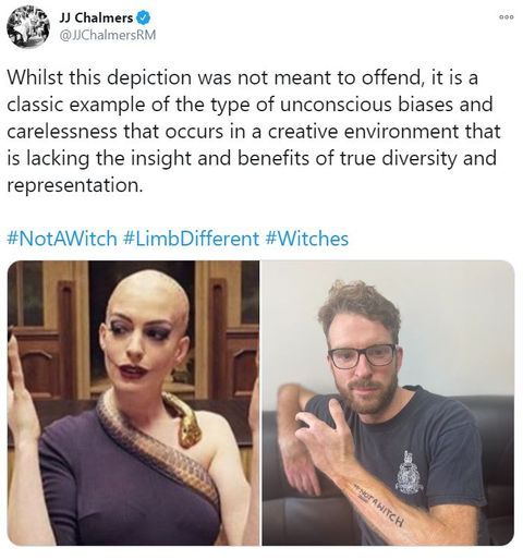 jj chalmers tweets about the witches, stating that it features negative stereotypes